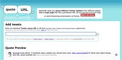 Цитирование и вставка твитов: QuoteURL